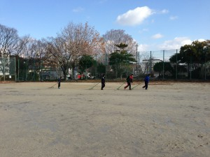 野球教室の練習風景